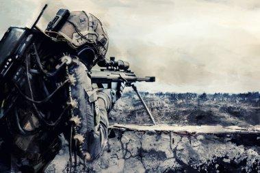 Futuristic army sniper