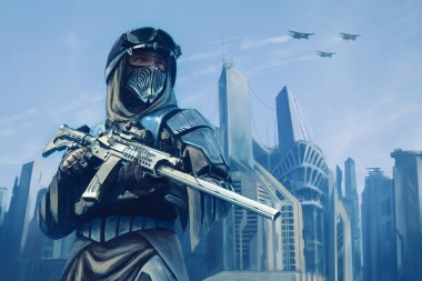 Futuristic warrior with weapons