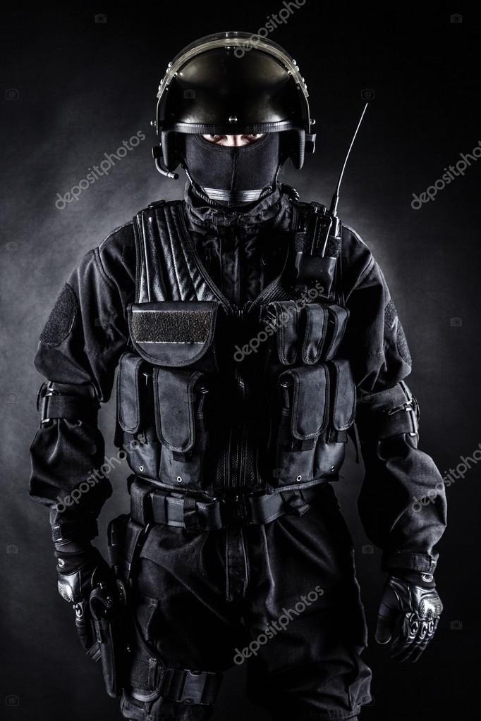 Spec ops soldier in uniform on black background stock vector