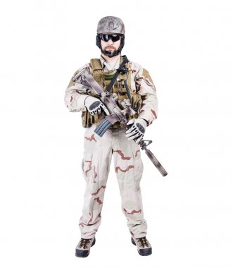 Bearded special warfare operator with assault rifle stock vector