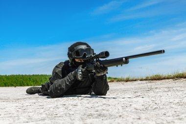 Police sniper SWAT in black uniform in action stock vector