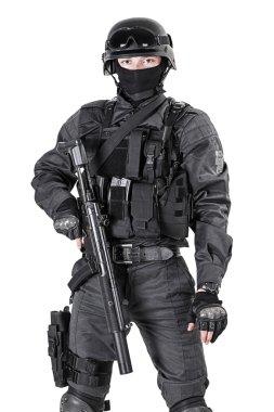 Spec ops police officer SWAT in black uniform studio shot stock vector