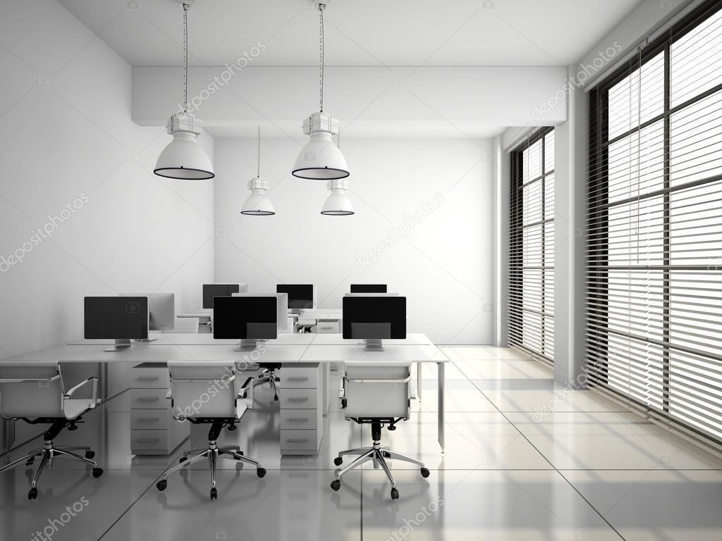 Interior de la oficina moderna en blanco render 3d foto for Interior oficina