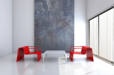 Chair and a table in an empty interior 3D rendering
