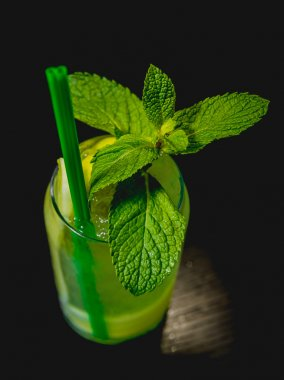 green Cocktail on Bar