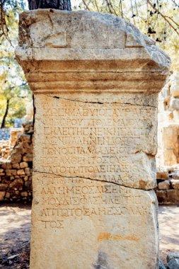 antique letters carved on column
