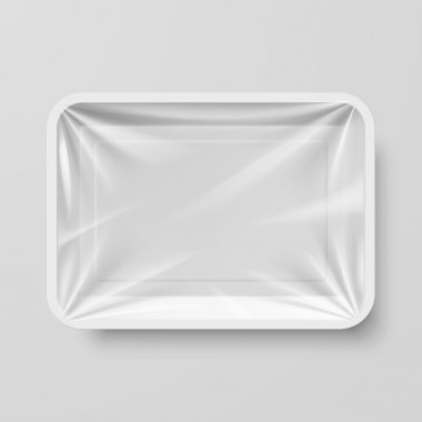 Empty White Plastic Food Container on Gray clip art vector