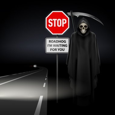Scytheman beside the road with a traffic sign Stop