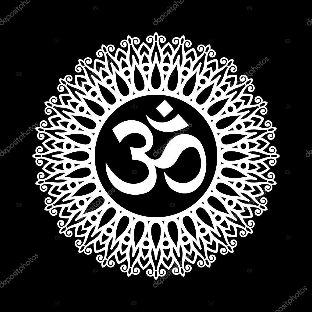 Om Wallpaper Black Om Symbol Aum Sign With Decorative
