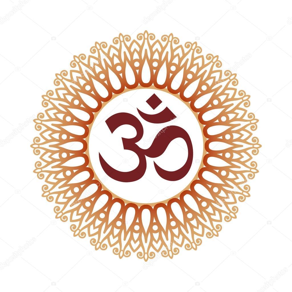 om symbol aum sign and decorative indian ornament mandala stock