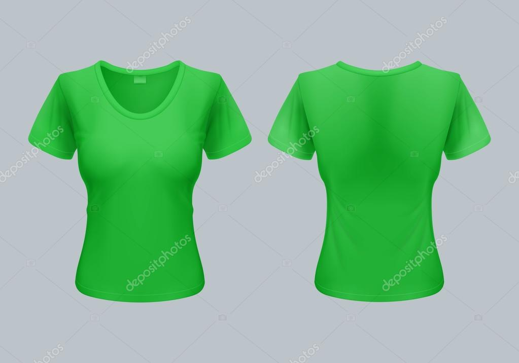women t shirt template back and front views in light green stock