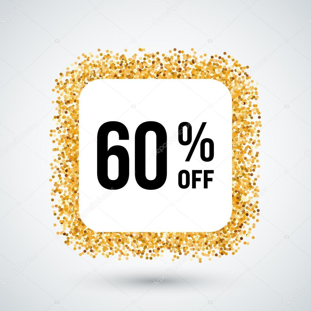 Marco de oro con descuento 60% para el diseño — Archivo Imágenes ...