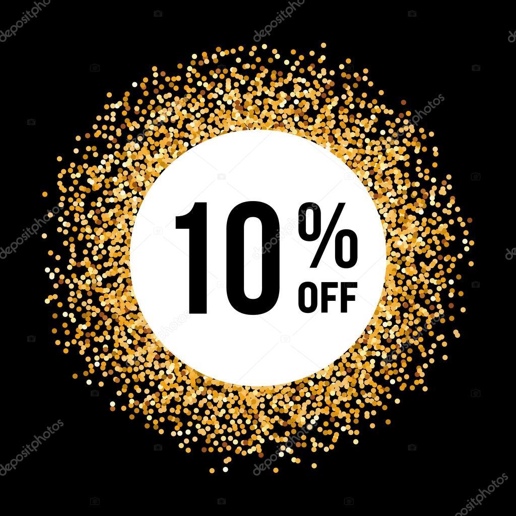 Marco del círculo de oro sobre fondo negro con 10% de descuento ...