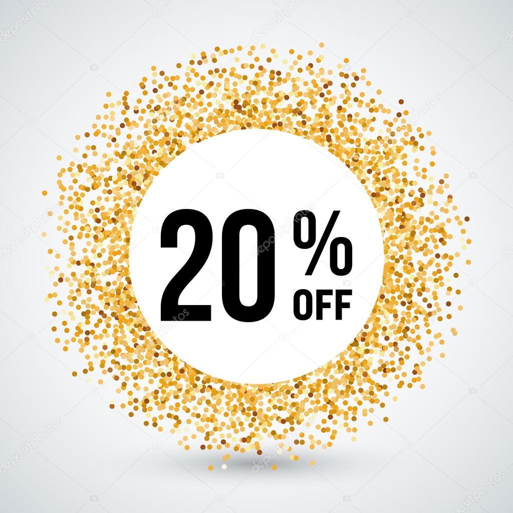 Marco de círculo de oro con descuento 20% — Archivo Imágenes ...