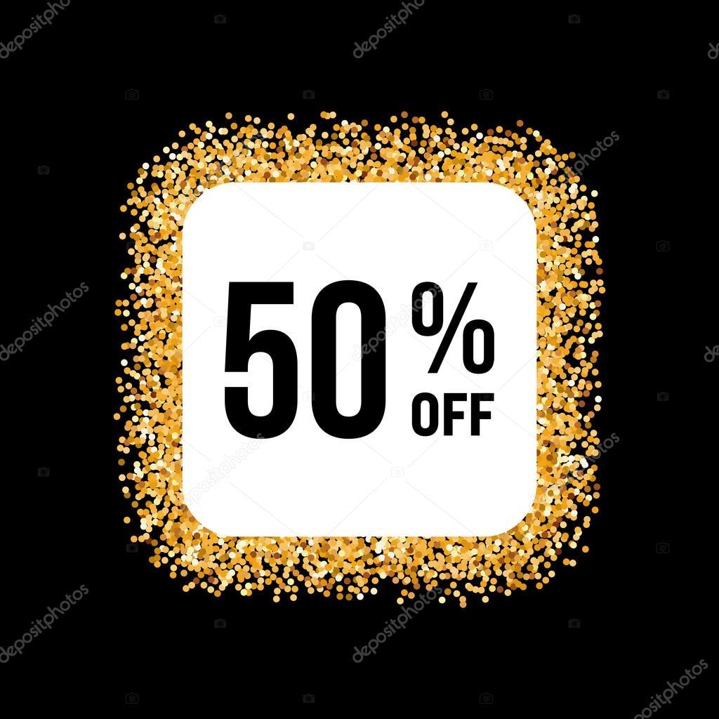 Marco dorado sobre fondo negro con el 50% de descuento — Vector de ...