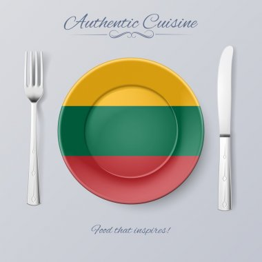 Authentic Cuisine of Lithuania. Plate with Lithuanian Flag and Cutlery