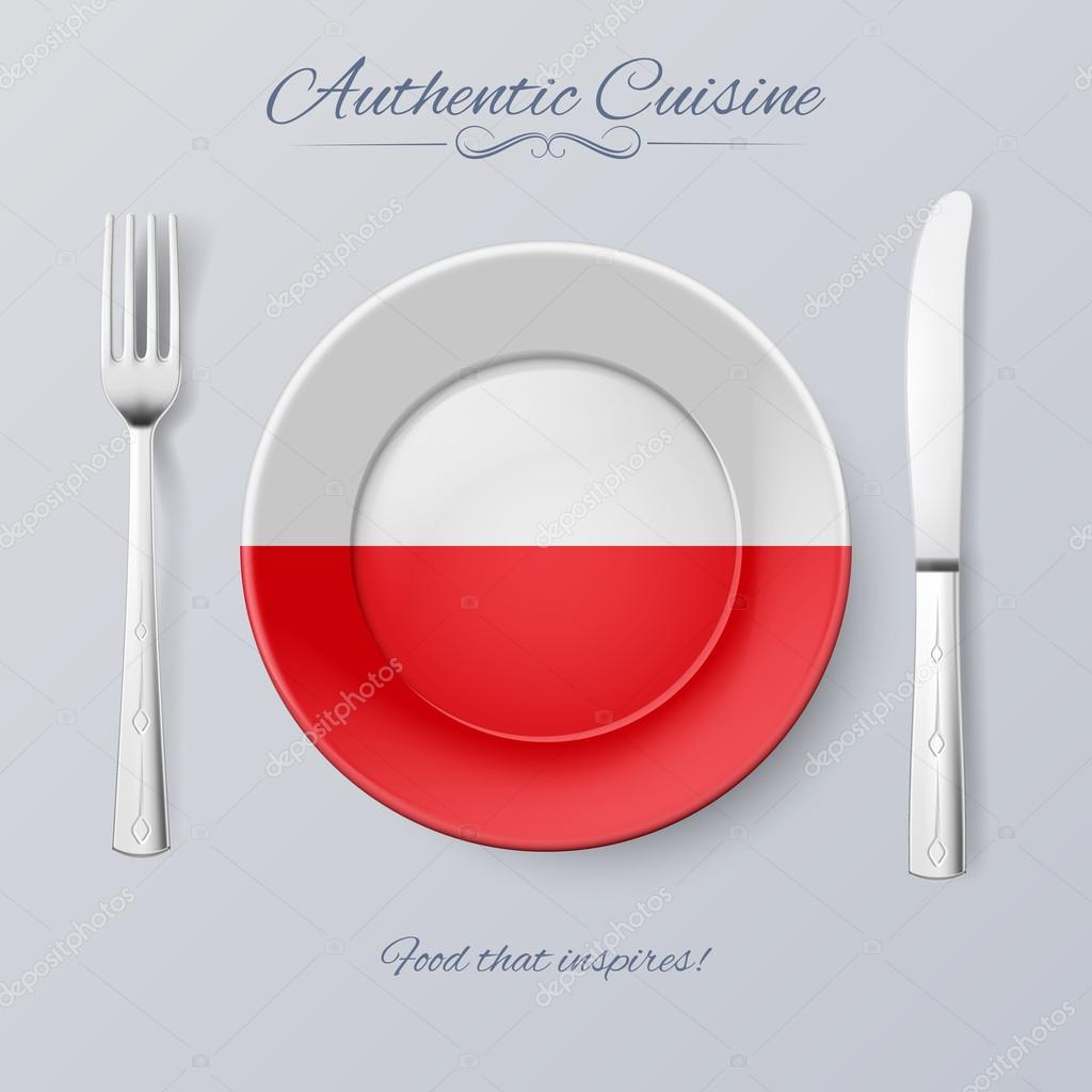 Authentic Cuisine of Poland. Plate with Polish Flag and Cutlery ...