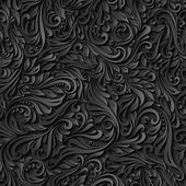 Seamless abstract black floral pattern