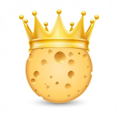 Golden crown on cheese