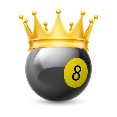 Gold crown on a billiard ball
