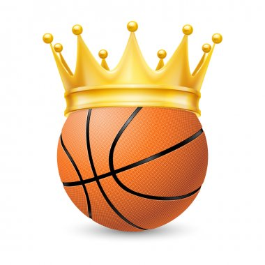 Gold crown on a basketball ball