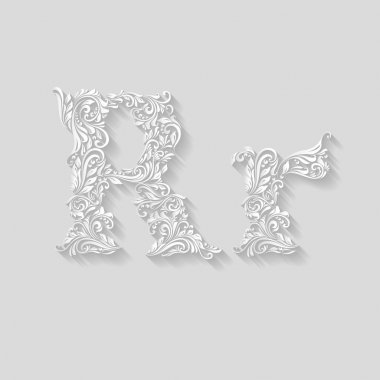 Decorated floral letter r