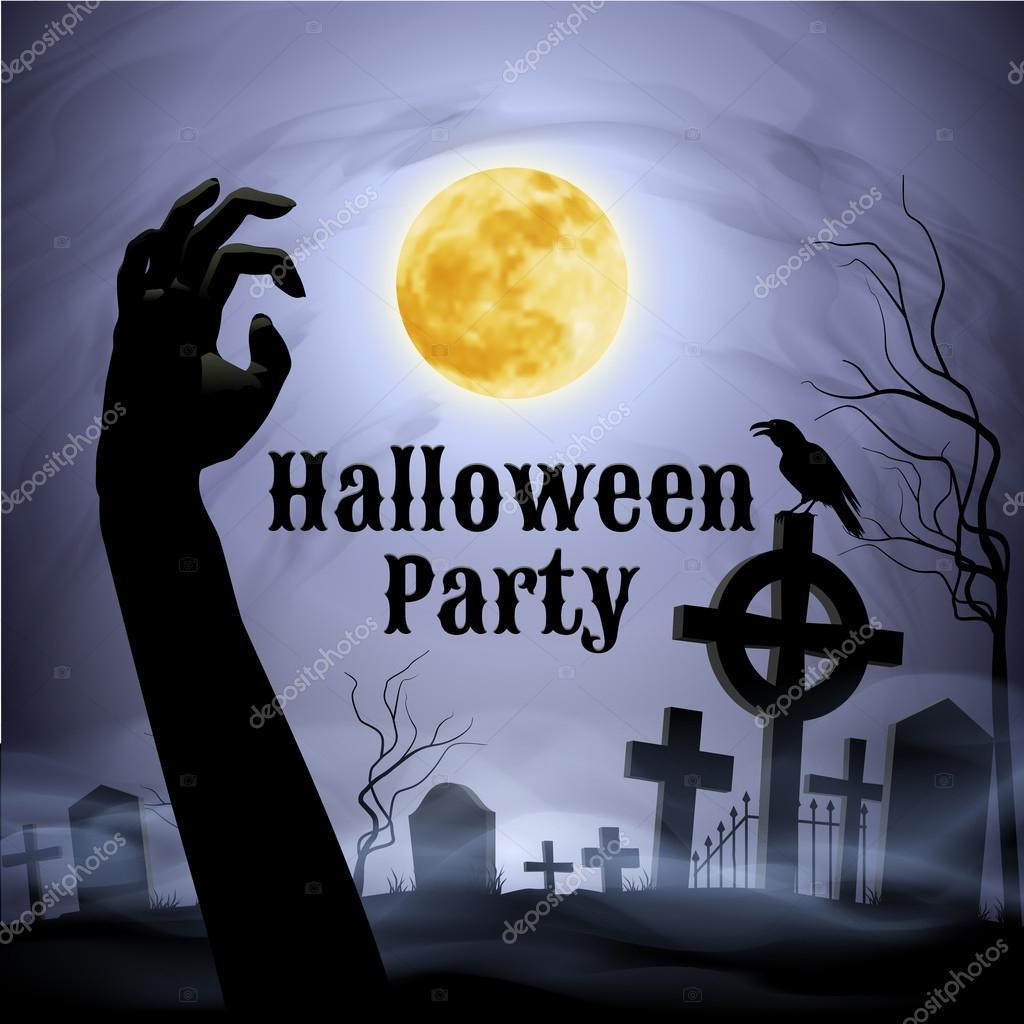 Halloween party on a spooky graveyard under full moon — Stock ...