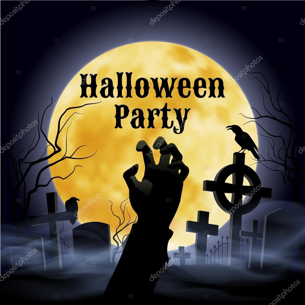 Halloween Feest.Halloween Party On A Spooky Graveyard Under Full Moon Stock Vector