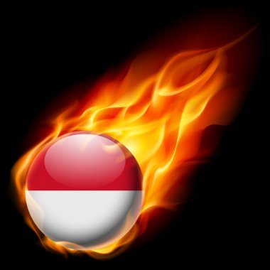 Flag of Monaco as round glossy icon burning in flame