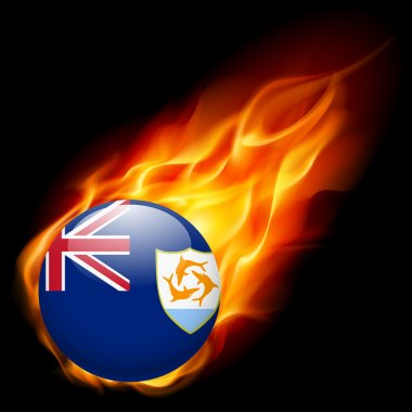 A round badge in the colours of Anguilla flag burning in flame