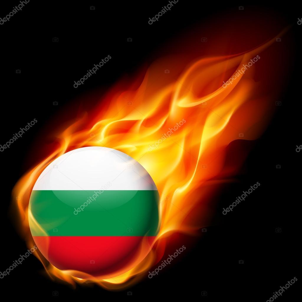 Drapeau de la Bulgarie comme icône brillant rond, brûler dans les flammes —  Image vectorielle 0b634338ae9