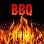 Fotografie Closeup BBQ grill fire on black background