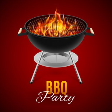BBQ party banner grill with fire isolated on red