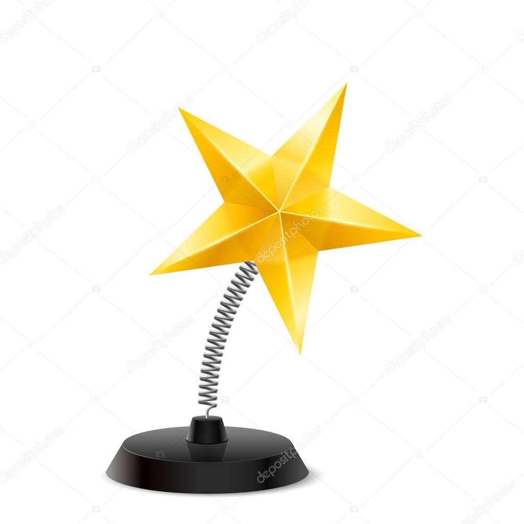 Table souvenir in form of shiny golden star on spring