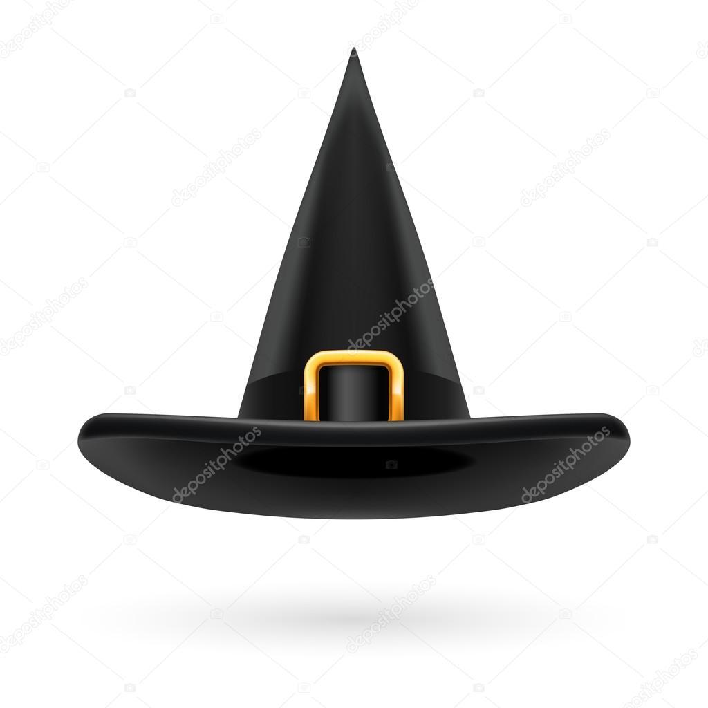 Sombrero de bruja negro con hebilla dorada y cinta del sombrero — Archivo  Imágenes Vectoriales e5b59fe82be
