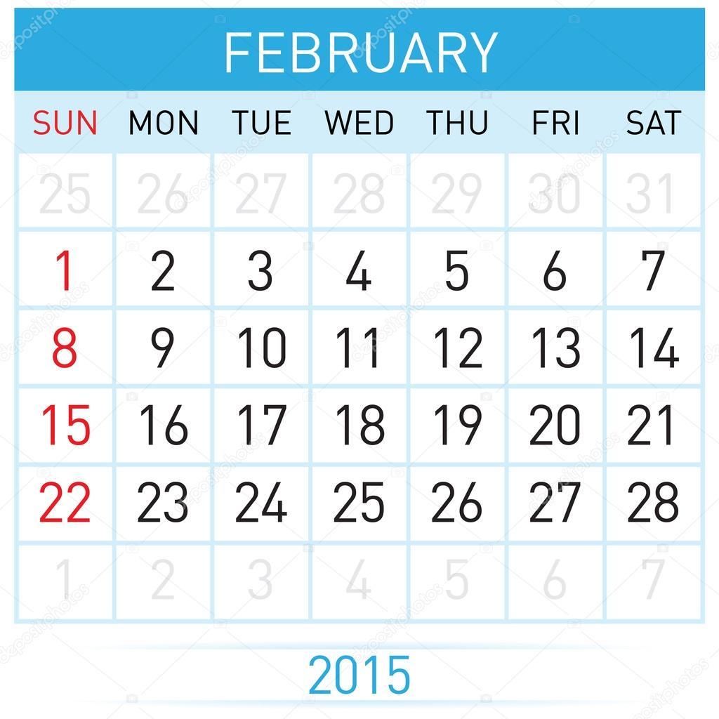 Plantilla de calendario mensual de febrero del año quince veinte ...