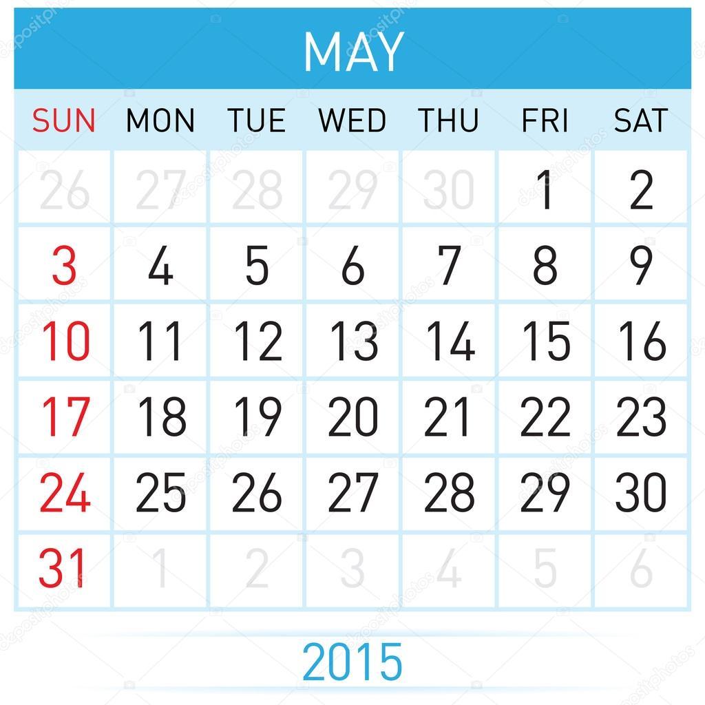 Monatlichen Kalendervorlage für Mai des Jahres rund fünfzehn ...