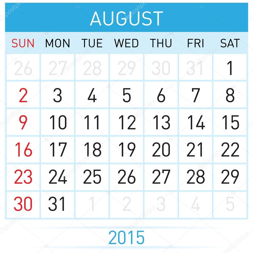 Monatlichen Kalendervorlage für August des Jahres rund fünfzehn ...