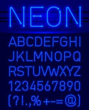 Neon font and symbols