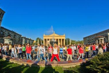 Dancing city flash mob.