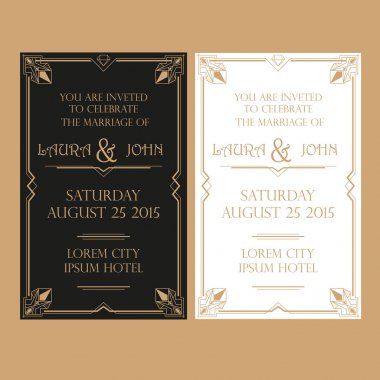 Wedding Invitation Card - Art Deco Vintage Style