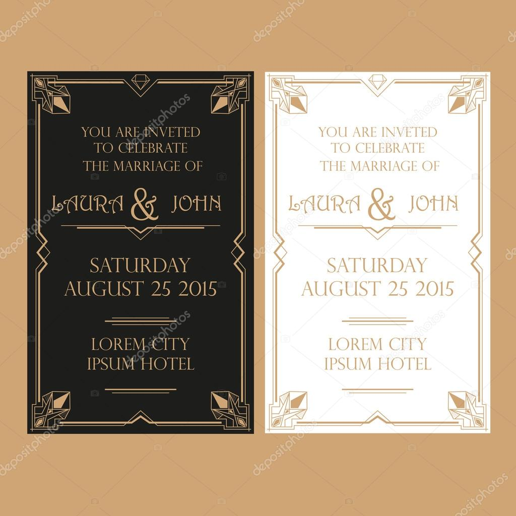 Wedding invitation card art deco vintage style vetor de stock wedding invitation card art deco vintage style vetor de stock stopboris Choice Image