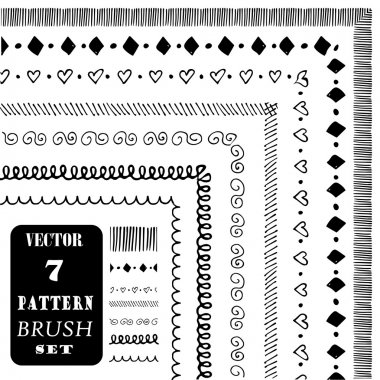 Hand drawn decorative vector pattern brushes