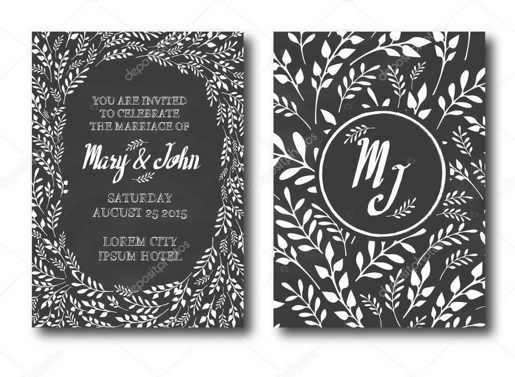 Wedding Invitation Vintage Typographic Background