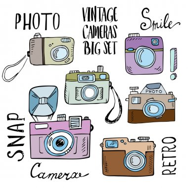 Hand drawn set of retro cameras with lettering