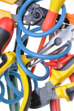 Tools and cable used in electrical installations