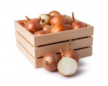 Onions on wood crate