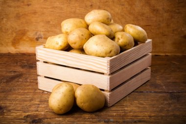 Potatoes in box  on  background