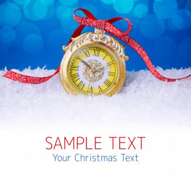 Christmas background with clock and snow blur bokeh stock vector