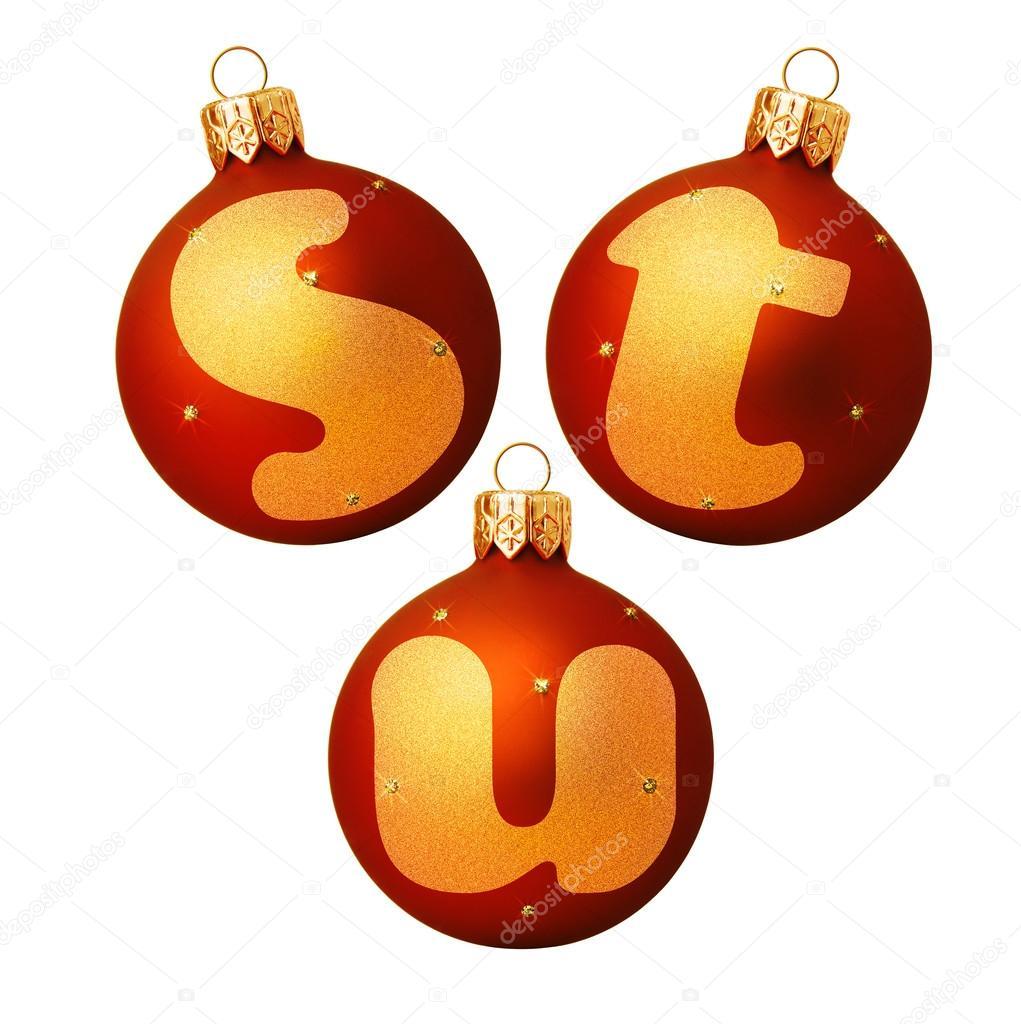 Bolas de Navidad rojo con letras Fotos de Stock korovin 92976602